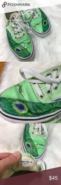 """Hand Painted Peacock Feather Vans Size 6 Custom Custom Hand Painted Vans Size 6. Peacock feather design with """"free"""" Painted on. Have been worn a few times. Custom made; real Vans Sneakers; beautiful colors! You will get a ton of compliments on these! Very artistic style, see every detail and brush stroke! Offers welcome! Bundle up! Vans Shoes Sneakers"""