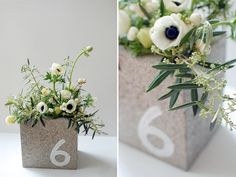 anemone centerpiece with table number or put three together for house number