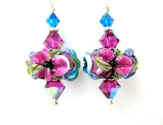 Colorful Floral Lampwork Earrings Aqua Hot by GlassRiverJewelry, $32.00