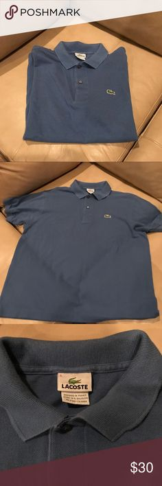 Men's Lacoste Polo in Steel Blue Men's Lacoste Polo. Color is Steel blue. Size medium. Still in good condition. Bundles for deals! Lacoste Shirts Polos