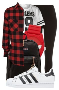"""""""!"""" by king-alysa ❤ liked on Polyvore featuring River Island, adidas, JanSport and adidas Originals"""