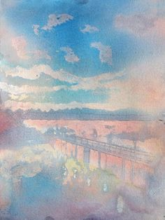 Sunset Dock - watercolour pouring