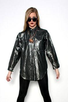 1980s Silver Metallic L/S Button Up | Cavortress