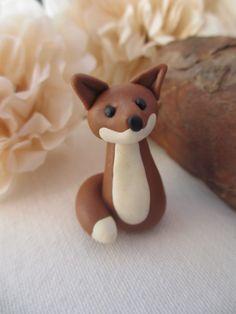 Fox British wildlife polymer clay miniature