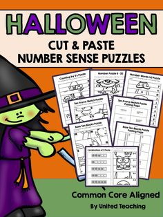 Halloween Cut and Paste Number Sense Puzzles >> Great for interactive notebooks!