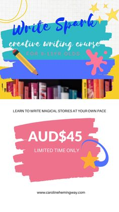 Help your child to learn how to write magical stories in this step-by-step online creative writing course. This course includes an instruction manual, a workbook and videos to consolidate learning plus extras. Great value for money. For more info go to my website
