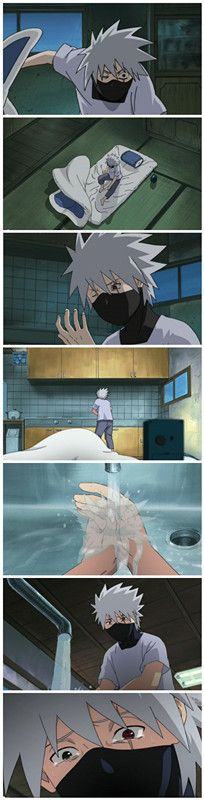 I cried when I saw this scene and I rarely ever cry. =[ Kakashi Hatake