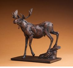 Bart Walter, Yellowstone Moose, bronze, edition of 10, 9 x 4 3/4 x 9 7/8 inches. At the Gerald Peters Gallery, Santa Fe, New Mexico.