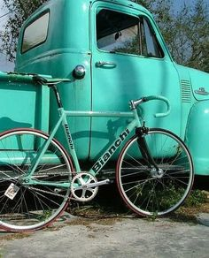 Vintage truck/bike/bicycle/aqua/turquoise/mint
