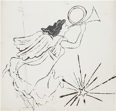ANDY WARHOL (1928-1987)  Angel  signed 'Warhol' (lower left)  ink and acetate on paper  23 x 15¾ in. (58.4 x 40 cm.)  Drawn circa 1954.