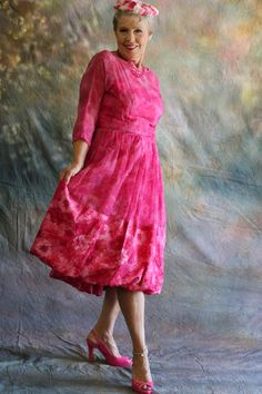 Special Vintage Party Dress - Fanciful 50's Pink Chiffon Cocktail Dress with a Bouncy Flouncy Hemline by Bullock's Pasadena Lakeside Shop by WildOatStudios on Etsy