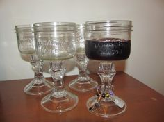 Mason jar wine glass/ candle holder/ REDNECK wine by PyperKen, $24.00