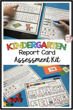 KINDERGARTEN Report Card and Assessment Binder - Common Core aligned tests and quarterly report cards - everything you need for your data binder and running records of students - math - reading - language arts kindergarten standards Kindergarten Report Cards, Kindergarten Language Arts, Kindergarten Readiness, Kindergarten Lesson Plans, Homeschool Kindergarten, Preschool Learning, Preschool Activities, Homeschooling, Kindergarten Literacy Stations