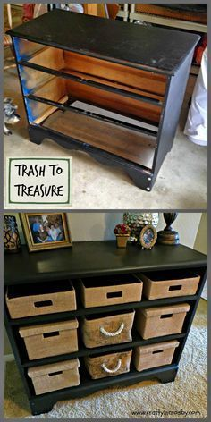 Old dresser without drawers- maybe use cardboard picture boxes