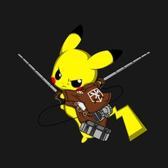Shop SHINGEKI NO PIKA pokemon t-shirts designed by berserk as well as other pokemon merchandise at TeePublic. Pikachu Pikachu, Pokemon Eevee, Pokemon Fan Art, Pokemon Tv Show, Deadpool Pikachu, Pokemon Fusion, Wallpaper Animes, Animes Wallpapers, Cartoon Wallpaper