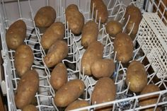 If you have 20 pounds of potatoes to wash, throw them in the top shelf of the dishwasher. Set on the quick rinse cycle and let your dishwasher clean the potatoes.
