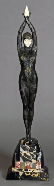 """Demetre CHIPARUS (Romanian, 1886-1947) Star fish, 1930 Cold painted bronze and carved ivory figure Signed to marble """"D.H. Chiparus"""" Foundry mark """"L.N.J.L. Paris"""" to underside H 28 in. - 71 cm (with base)… - Fine Art Auctions Miami - 27/10/2014"""