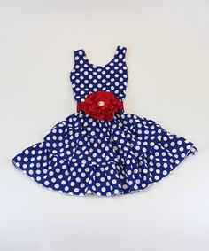 Love this Mia Belle Baby Royal Blue Polka Dot Flower Tiered Dress - Toddler & Girls by Mia Belle Baby on #zulily! #zulilyfinds