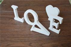 De pie libre Decoración Decoración 12 cm Artificial uso De Madera de Las Letras Del Alfabeto De Madera Blanca para La Boda de Cumpleaños Decoración