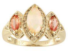 .55ct Ethiopian Opal, .46ctw Orange Sapphire And .20ctw Champagne Diamond 10k Yellow Gold Ring