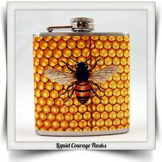 $18.95 Honey Bee Honeycomb Flask #gift #flask #liquor #wedding #birthday #Christmas