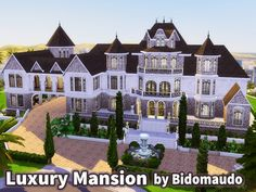 This Mansion for a Celebrity Family, features 5 bedrooms, 7 bathrooms, garden, pool and garage Found in TSR Category 'Sims 4 Residential Lots' Celebrity Mansions, Celebrity Houses, Luxury Mansions, Lotes The Sims 4, Mansion Plans, Sims 4 Family, Sims House Plans, Family House Plans, Sims 4 House Design