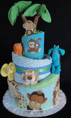 Jungle Themed Diaper Cake www.facebook.com/DiaperCakesbyDiana