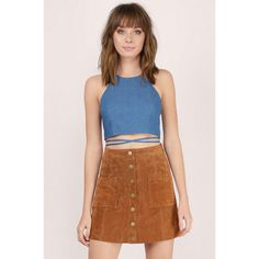 Tobi Winona Denim Wrap Crop Top ($44) ❤ liked on Polyvore featuring tops, blue, blue crop top, blue halter top, denim crop top, lace up front top and halter-neck tops