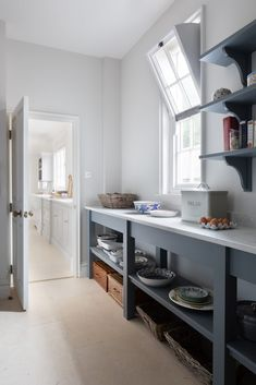 New walk in pantry - Georgian Country Kitchen - finished in H Kitchen Pantry Design, Country Kitchen Designs, Home Decor Kitchen, Rustic Kitchen, Kitchen Storage, Home Kitchens, Ikea Pantry, Basement Kitchen, Kitchen Cabinetry