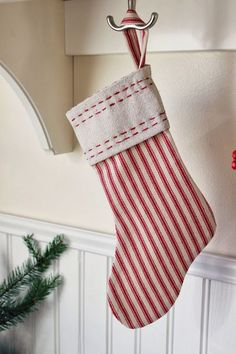 Happy At Home:  How to make Robin's super cute Ticking Stripe Christmas Stockings!