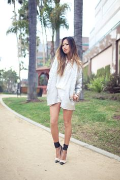 White silhouette by Song of Style Song Of Style, Style Me, Cool Style, Shoes Style, Fall Socks, Glitter Jacket, Dip Dye Hair, Autumn Street Style