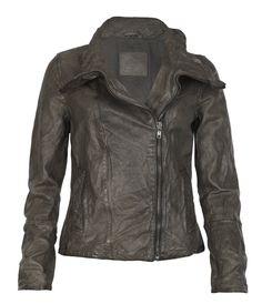 Totally want an asymmetrical zip biker jacket like this.