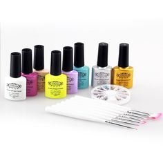 Perfect Summer Creative 3pcs 10ml Mood Chanings Colors Gel Polishes   Clear Primer Base Coat   Top Coat French Salon Starter Manicure Sets -029 nude pink ** See this great product.