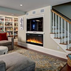 Browse photos of Basement Rec Room. Find ideas and inspiration for Basement Rec Room to add to your own home. See more ideas about Game room basement, Game room and Finished basement bars. Small Basements, House, Home, Basement Decor, Staircase Design, Basement Remodeling, New Staircase, New Homes, Basement Stairs
