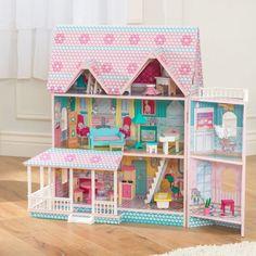 Casita de muñecas modelo Abbey Manor de kidkraft de diseño victoriano para decoración en habitación de niñas y juego. Casa de muñecas de madera con accesorios.
