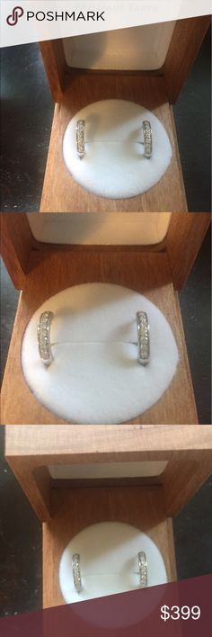 Brilliant Earth  Diamond Huggie Earrings Beautiful and elegant 18k White Gold Diamond Huggie Earrings (1/4 Ct. tw) by Brilliant Earth. Brilliant Earth is known for its conflict-free diamonds and sustainability practices. Perfect for every day wear, these huggie earrings sit close to the ear lobe. I do not have an accompanying certificate. Earrings can be viewed in further detail on the Brilliant Earth website. Retail for $775 brilliant earth Jewelry Earrings