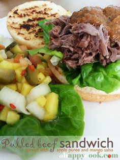 Pulled beef sandwich served with apple puree and mango salsa