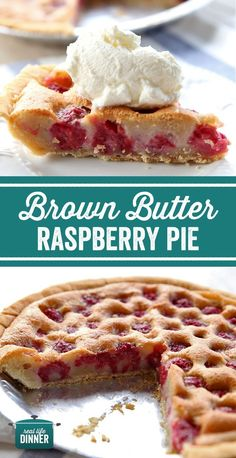 Best Holiday Pie Ever! Brown Butte Raspberry Pie is just as delicious as it is beautiful and even better, it's got very little sugar, making it one of the healthiest pies you can grab for after your big dinner. #raspberry #pie #brownbutter #thanksgiving #dessert #pies #easypies #easydessert #beautifuldesserts, #prettyfood #thanksgivingdinner #Christmasdinner ~ https://reallifedinner.com