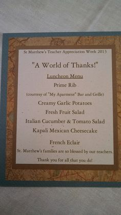 """A World of Thanks"" Luncheon Menu complete with international dishes"