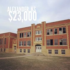 "Cheap Old Houses ™ on Instagram: ""200 School St, Alexander, KS — For sale by owner and WOW. ""We are selling the old Alexander Kansas school building with the land it sits…"" Historic Architecture, School Building, Old Houses, Kansas, Abandoned, Multi Story Building, Old Things, Instagram, Old Homes"