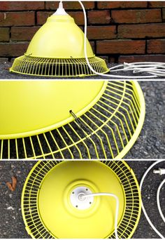 Make your own trendy industrial style pendant light using an old fan you no longer use.
