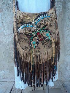 Handmade Fringe Cross Body Bag Boho Hobo Gypsy Hippie Handbag Tote Purse tmyers #Handmade #MessengerCrossBody