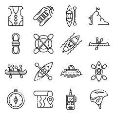 Canoeing icons set, outline style Premiu... | Premium Vector #Freepik #vector #logo Icon Set, Logos, Outline, Social Media Marketing, Style Icons, Canoeing, Canoe, Logo, Canoes