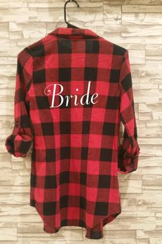 SET OF 5 -Red and Black Bride Flannels. Bridesmaid Flannels. Bridesmaid Shirt. Bridal Party Flannels. Set of 5 flannels. by AmbitiousStyles on Etsy https://www.etsy.com/listing/489340465/set-of-5-red-and-black-bride-flannels