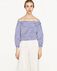 OFF-THE-SHOULDER STRIPED BLOUSE-Blouses-TOPS-WOMAN | ZARA United States