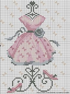 point de croix robe rose vintage - cross-stitch pink vintage dress