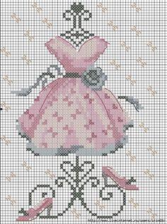 point de croix robe rose vintage - cross-stitch pink vintage dress