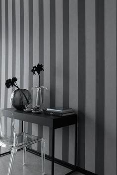Livingroom on pinterest striped wallpaper grey living for Grey striped wallpaper living room
