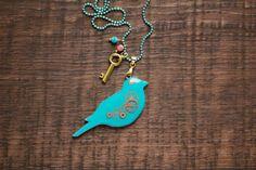 Spring neon bird necklace  Birds pendant  by tanukdolotova on Etsy