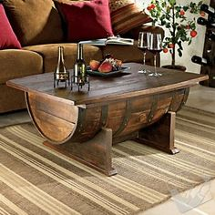 Oak Whiskey Barrel Coffee Table.